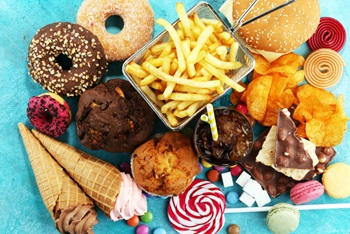 variety of sugary and fattening foods