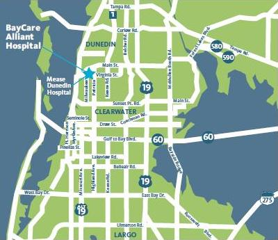 BayCare Alliant Hospital locator map