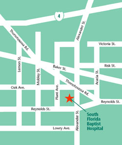 Map locating South Florida Baptist Hospital