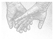 Holding hands sketch drawning